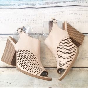Qupid Neutral Tan Laser Cut Eyelet Peep Toe Bootie